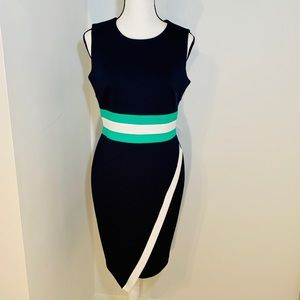 Tommy Hilfiger Asymmetrical Block Waistband Dress